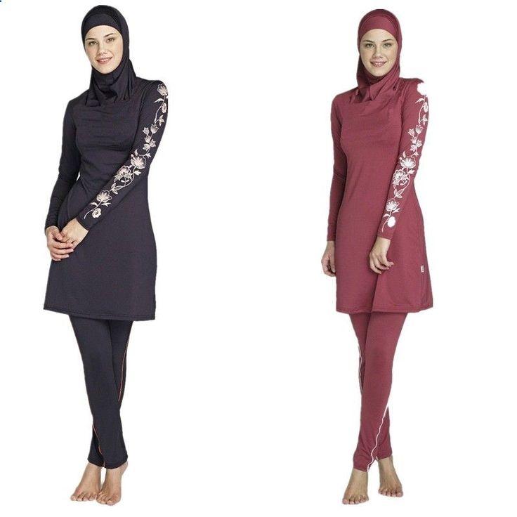Full Coverage Modest Muslim Swimwear Islamic Swimsuit For Women Arab Beach Wear Muslim Hijab Plus Size Full Piece Swimsuits #Affiliate