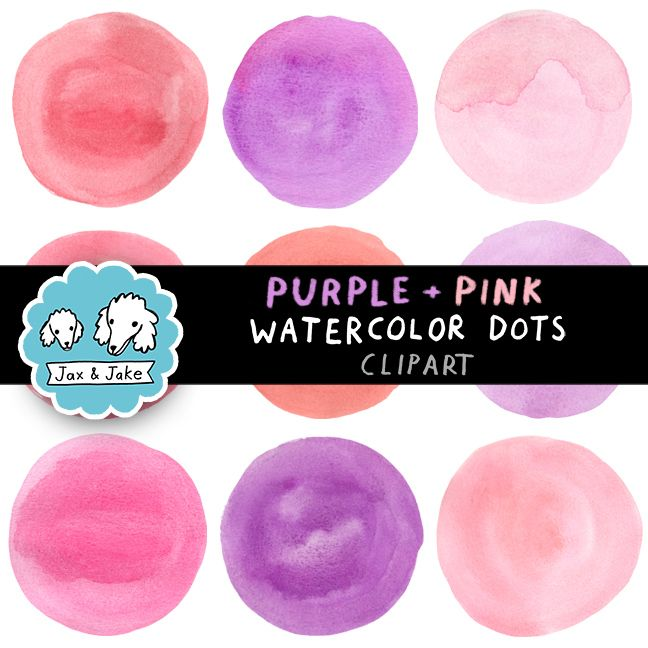 Clip Art: Purple + Pink Watercolor Dots / Circles Personal and Commercial Use OK $