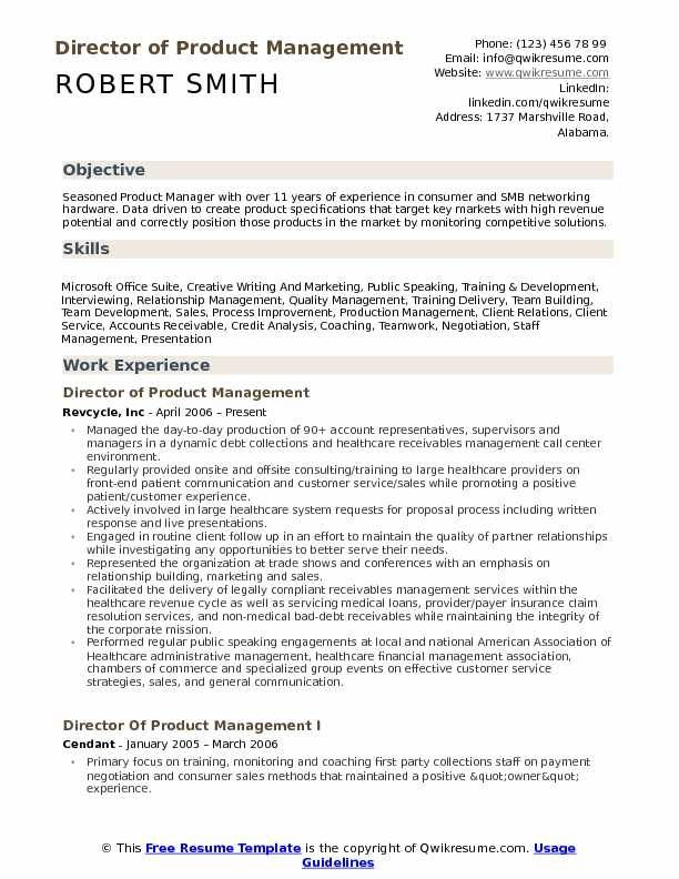 Director Of Product Management Resume Samples Qwikresume Manager Resume Resume Template Job Resume Samples