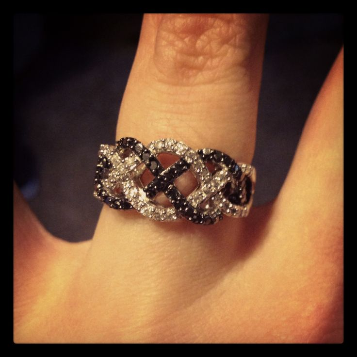 Promise Rings With Black And White Diamonds