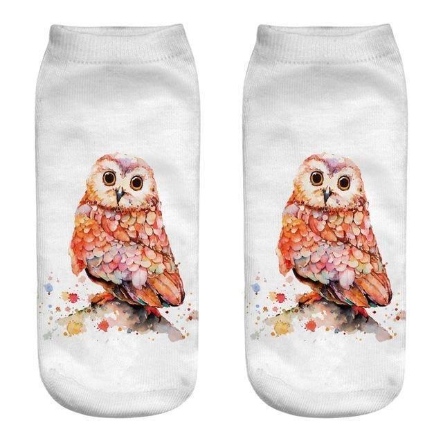 Summer Funny Harajuku Women Cotton Ankle Socks 3D Print Owl Low Cut