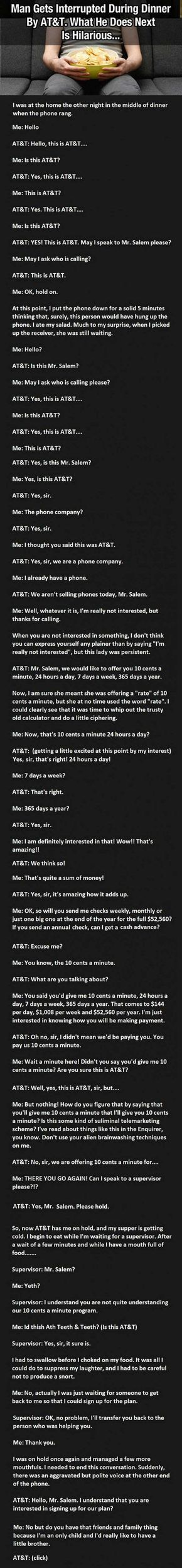 Man Gets Interrupted During Dinner By AT&T And What He Does Next Is Hilarious funny jokes story lol funny quote funny quotes funny sayings joke hilarious humor stories funny jokes