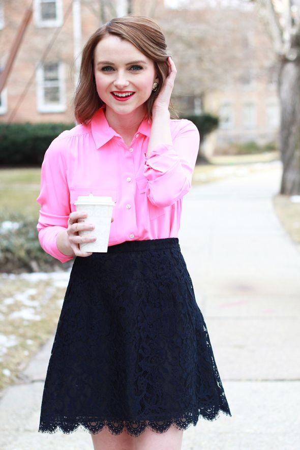 Poor Little It Girl - Report for Aeropostale White Flats, J.Crew Hot Pink Silk Blouse and J.Crew Navy Lace Skirt - via @poorlilitgirl