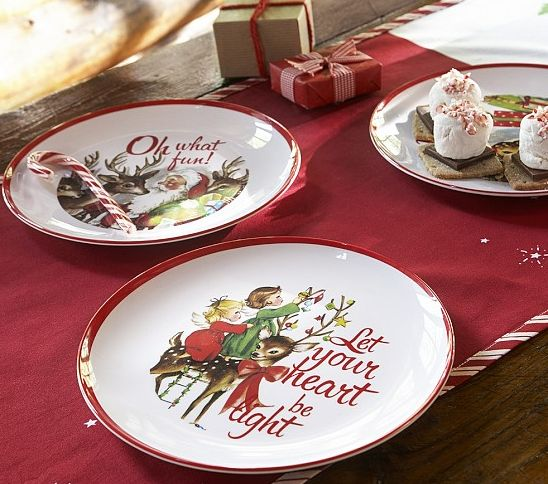 Pottery Barn Kids Santa Amp Heart Christmas Plate Set Set