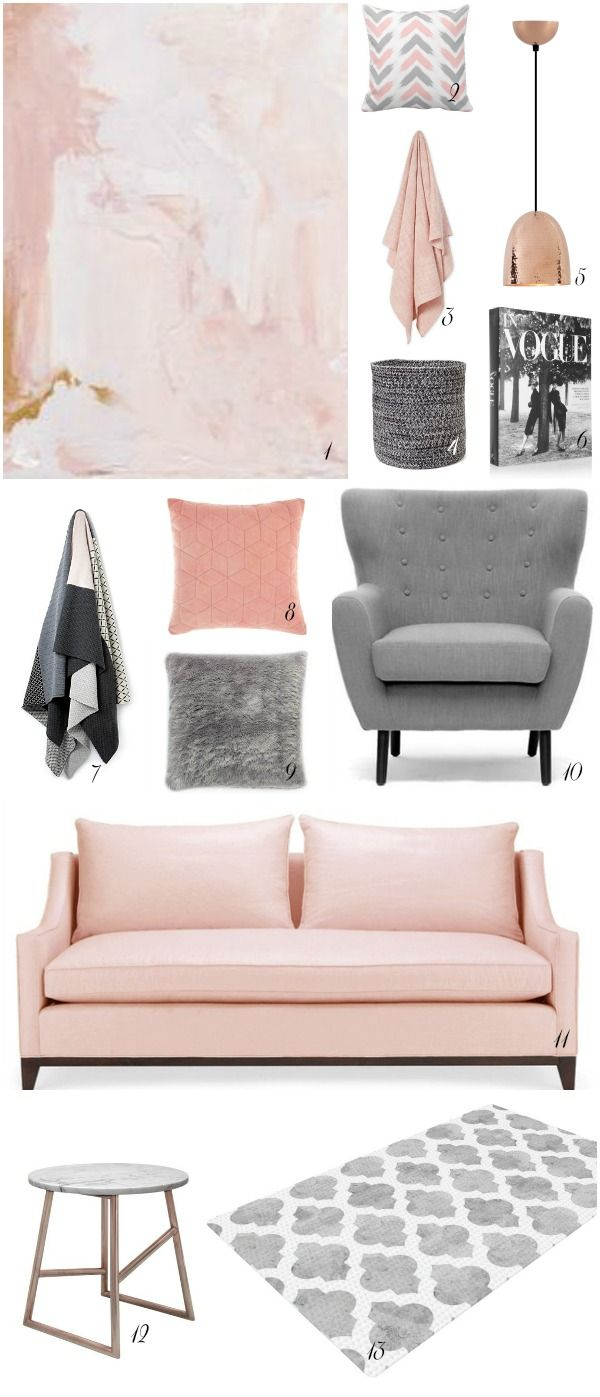 Blush - the colour on everyone cheeks has definitely transitioned its  way into fashion and homes over the past few months. Mixed with moody hues  like grey or charcoal it's a colour that is soft enough to be pretty, but  neutral enough...