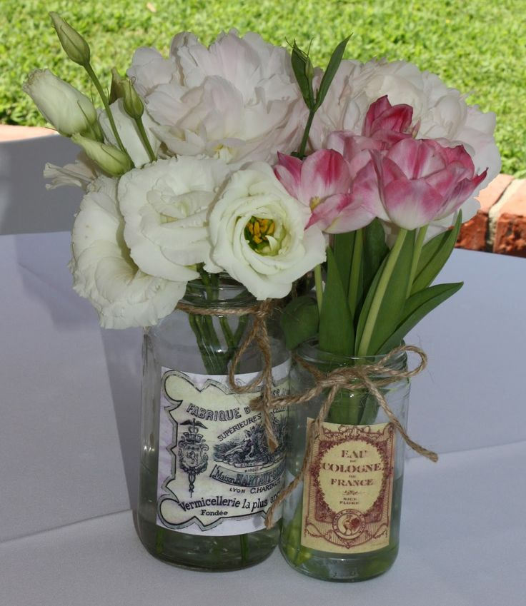 wedding shower poem ideas%0A Cute vase idea  vintagefrench  bridalshower  parisian  Bridal Shower  CenterpiecesMason