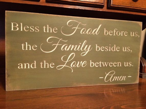 """Custom Carved Wooden Sign - """"Bless The Food Before Us, The Family Beside Us, And The Love Between Us"""""""