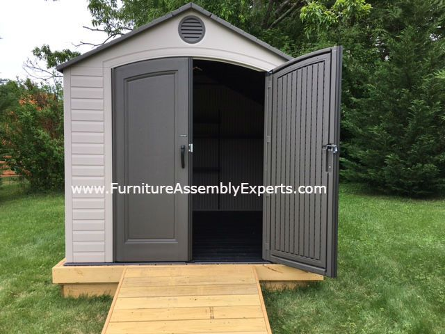 storage shed assembly and installation in sterling va by furniture experts company