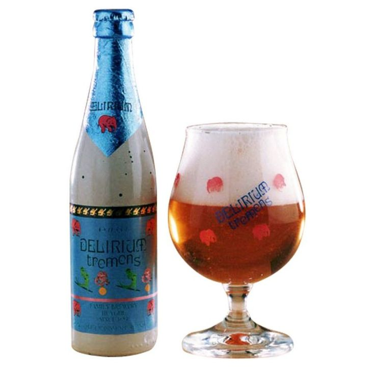 Cerveja Delirium Tremens, estilo Belgian Golden Strong Ale, produzida por Huyghe, Bélgica. 8.5% ABV de álcool.