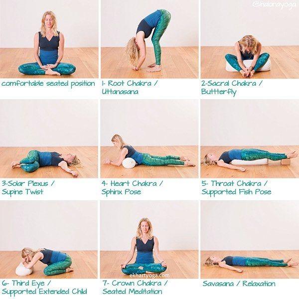 Yin Yoga Sequence To Stimulate 7 Basic Chakras For Balanced Energy Flow Each Pose 3 Mins Dengeli Enerji Yin Yoga Restorative Yoga Sequence Chair Pose Yoga