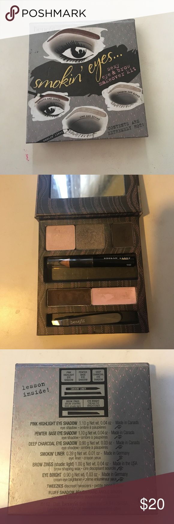 Benefit Smokin Eyes and brows palette eye and brow kit. Only swatched. Brand new pencil and plucker. Benefit Makeup Eyeshadow