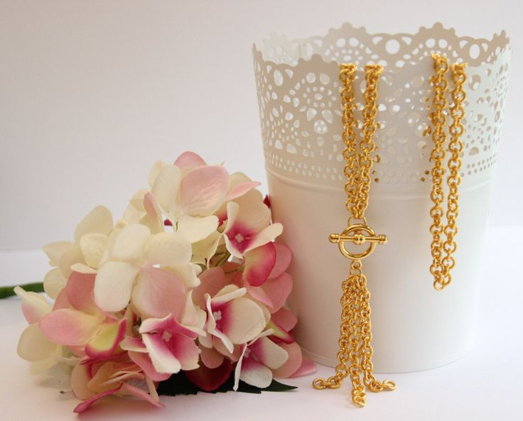 Beautiful long golden chain with smooth polished gold toggle pendant with tassel. Free delivery in Australia by 4Dignity on Etsy