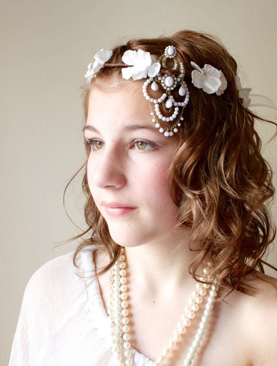 Flapper style Roaring 20's, off center White Floral Crown, white hydrangea floral crown, Gold and white floral crown on Etsy, $40.00