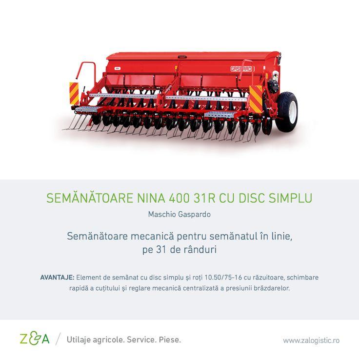 Semănătoarea NINA 400 31R Gaspardo are următoarele caracteristici: • Lățme de lucru - 4 m  • Lățime de transport - 4 m  • Greutate - 885 kg  • Capacitate bazin: 650 l  • Distanța între rânduri - 13 cm  • Atașare în 3 puncte cat. II  • Rulou dozator pentru semințe mici și mari  • Vas de probă semințe  • Protecție anti tasare  • Indicator nivel semințe bazin  • Dublă transmisie  • Excludere agitator • Set de lumini  • Grapă acoperire semințe reglare cu bolt și platformă încărcare…