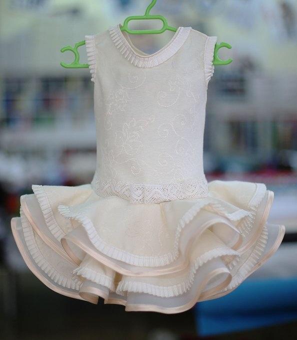 Vestido de flamenca color crema