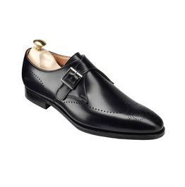 Handmade Men Formal Leather Shoes, Men Black Monk Shoes, Men Dress Shoes