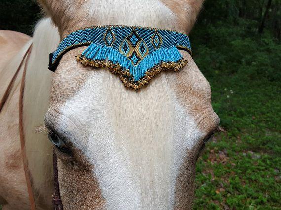Azul con franja oro semilla cuentas cabezada equina estilo
