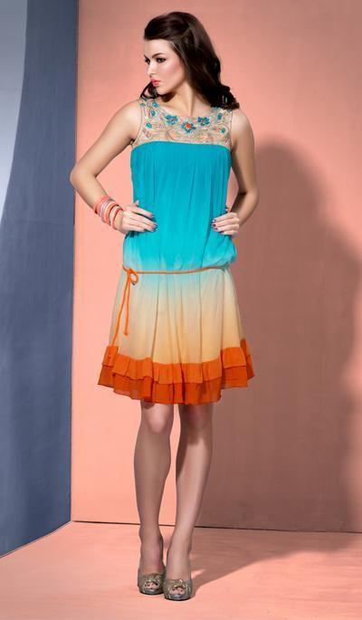 G3 Fashions Blue orange shaded georgette designer kurti  Product Code: G3-LKT300748 Price: INR RS 3290