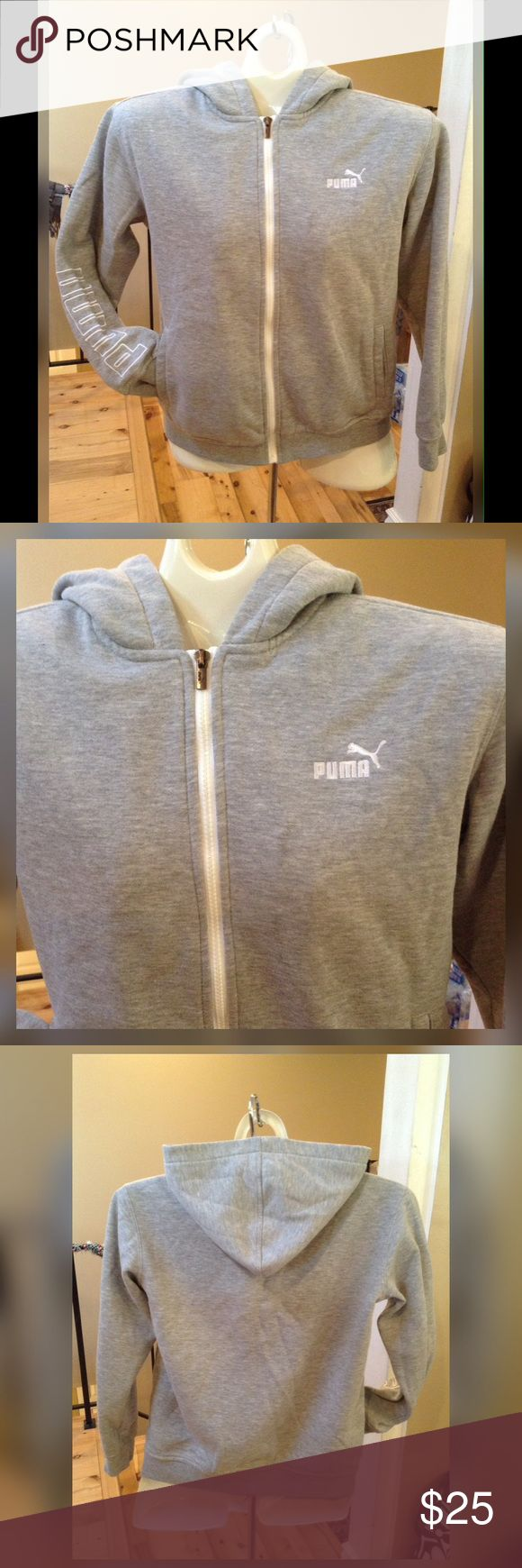 Puma Hoodie, Boys size small. Grey full zip boys hoodie with puma symbol over left chest and puma spelled on the right sleeve. This is a nice heavier weight hoodie perfect for spring and fall. EUC, no flaws. Puma Jackets & Coats