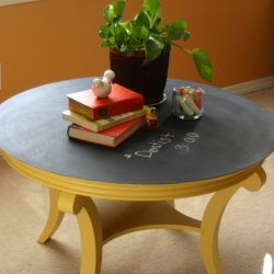 Transform a boring coffee table into a fun chalkboard table-- great for kids or as a conversational piece!