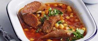 This recipe for chickpea and merguez stew with chilli garlic oil packed with flavour and is a great way to use up a can of chickpeas.Good butchers and larger supermarkets will sell spicy lamb merguez sausages, or you could substitute cooking chorizo sausages if you like.