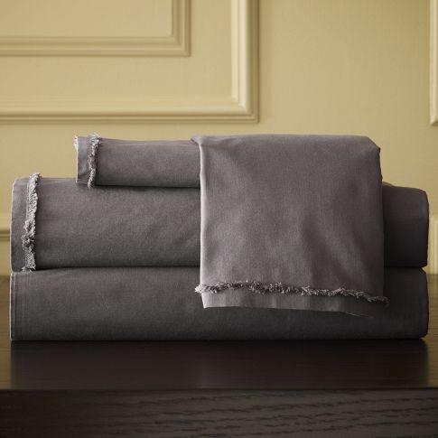 Organic Cotton Frayed-Edge Sheet Set - Slate | west elm