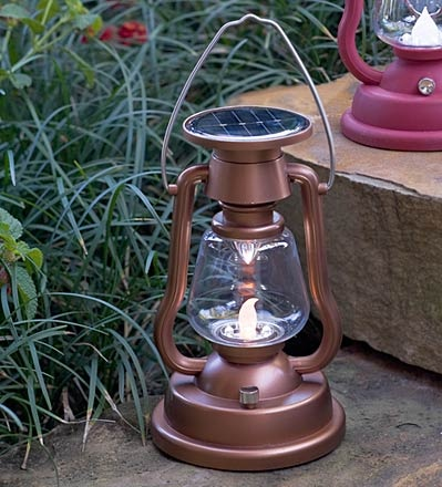 Plow and Hearth (plowhearth.com) also has a solar version of the classic camping lantern.