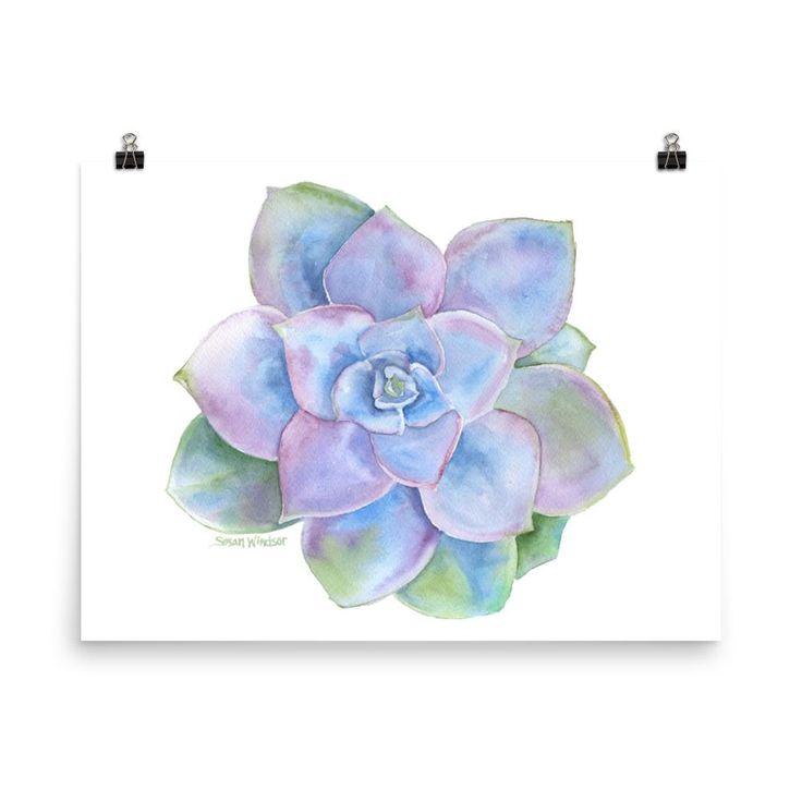 Blue Succulent Watercolor – Dani💙✌