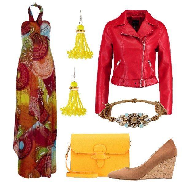 Outfit all'insegna del colore, composto da abito lungo multicolor accompagnato da giacca in ecopelle rossa e zeppe color cognac. La tracolla è color mango ed il bracciale, in cotone e pelle, ha applicazioni con perline e strass. Completano il look gli orecchini gialli di tendenza.