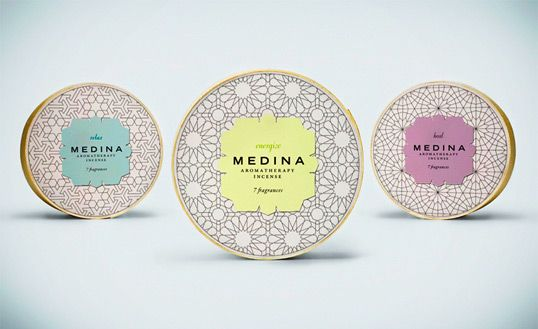 medina incense packaging. inspired by patterns in morrocan architecture.