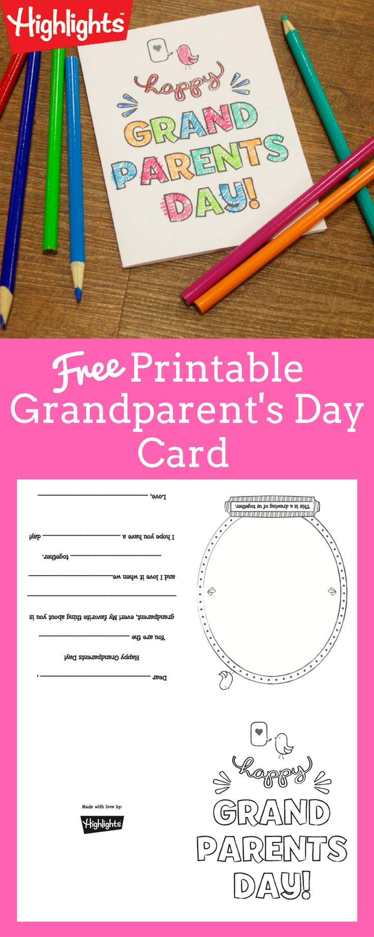 Download this free printable card that your kiddos can color and give to Grandma…