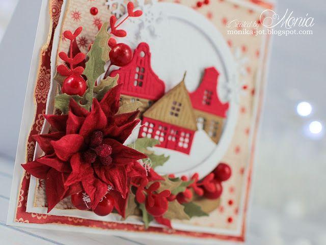 Kartka świąteczna z domkami