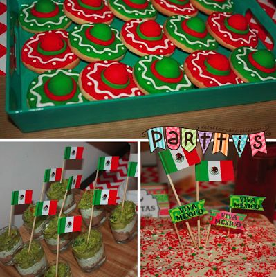PARTTIS :: Galletas de sombrero y decoraciones con la bandera de México :: Sombrero cookies and decorations with the mexican flag