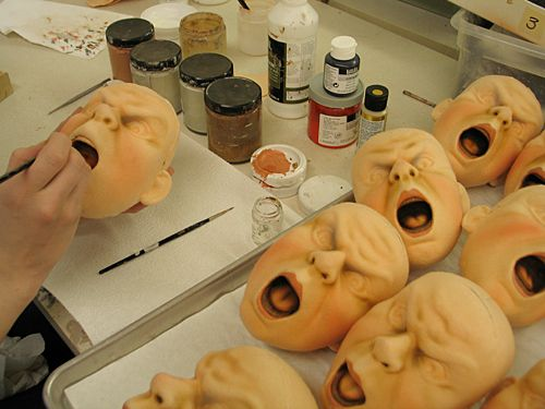 R. John Wright Dolls - Production of Queen of Hearts. Each face is artistically painted in several stages. #RJWDolls #RJohnWrightDolls #CollectibleDolls