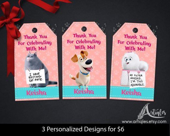 Personalisierte geheime Leben der Haustiere danke Tags Geschenk-Tag gefallen Tag Geburtstag Teil …   – Products