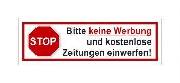1 Verboten! Bitte keine Werbung einwerfen als Aufkleber oder Schild