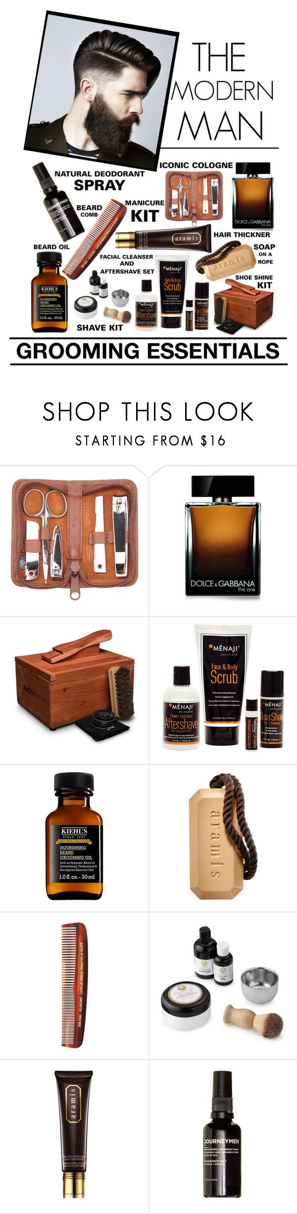 The Modern Man - Grooming Essentials by latoyacl on Polyvore featuring beauty, Dolce&Gabbana, Blksmith, MÃ«naji, Royce Leather, Kiehl's, Aramis, Journeymen, Baxter of California and Barba