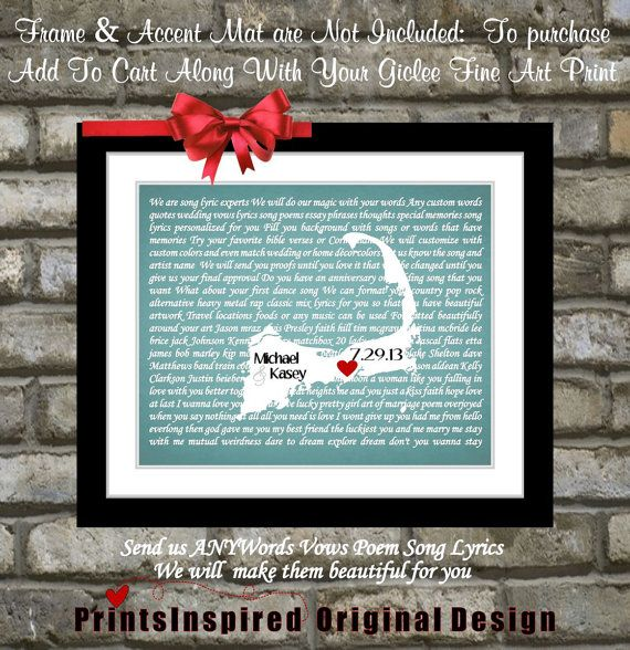 Wedding Gift Ideas For Distant Friends : Unique Wedding Gift: Personalized First Dance Wedding Song Lyrics Art ...