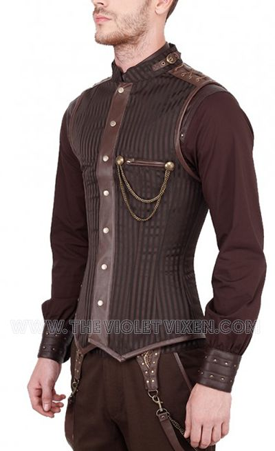 Steampunk brown mens corset! Brown striped brocade and faux leather with gold chain detail. Perfect for that triangle shape you're going for! The Violet Vixen - Steam Trooper Corset, $149.00 (http://thevioletvixen.com/clothing/mens/mens-corsets/steam-trooper-corset/) steampunk victorian brown striped steel boned mens corset