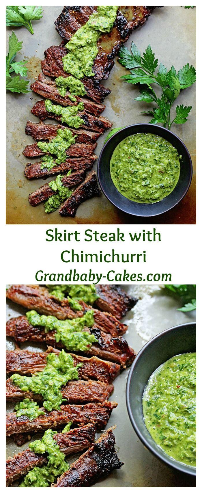 Marinated Skirt Steak with Chimichurri | Grandbaby-Cakes.com