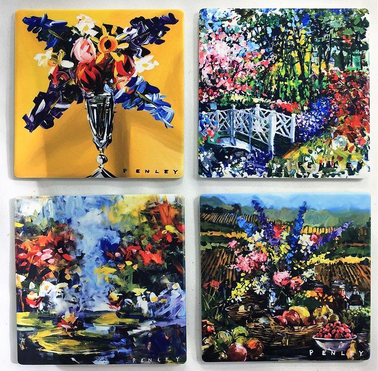 Fantastic Floral!  Custom made sandstone coasters featuring works by renowned artist, Steve Penley.