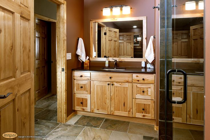 rustic hickory cabinets | Cabinets: Rustic hickory appears again in this lower-level bath