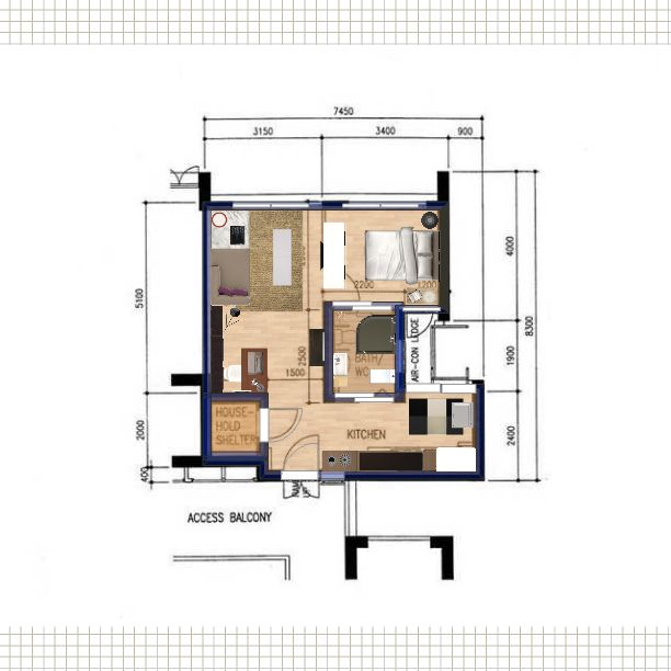 Public housing 2 room apartment in singapore 47sqm for Interior design for 2 bed flat