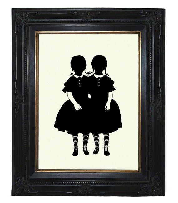 Silhouette Conjoined Twins Art Print Girls Halloween Gothic