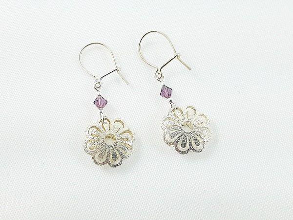 Girl's Jewelry, Earrings for Girl, Sterling Silver Earrings, Crystal Earrings, Christmas Gift for Girl, Flower Earrings SALE 50% off by modotikon on Etsy  50% off coupon code MODO2016