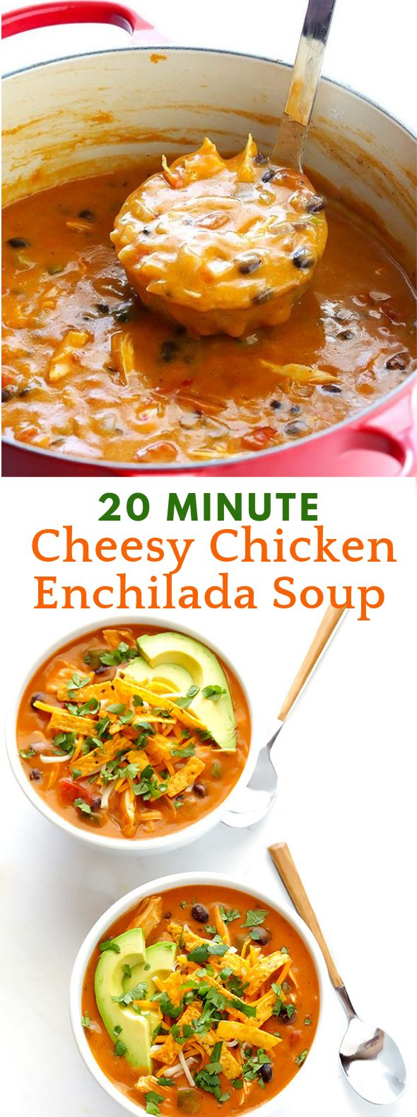 20-MINUTE CHEESY CHICKEN ENCHILADA SOUP #Dinner #Soup
