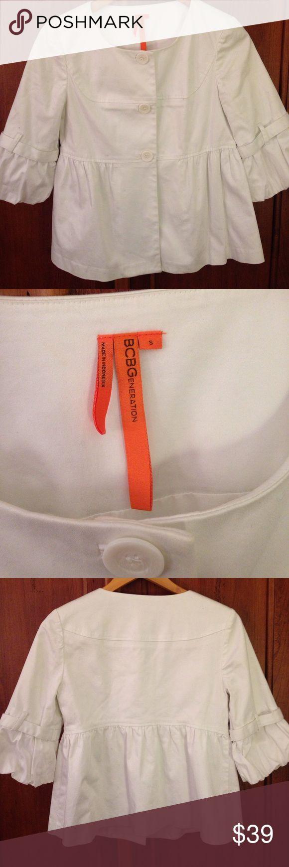 BCBG white coat BCBG white coat with 3/4 bell sleeves. size s BCBGeneration Jackets & Coats Blazers
