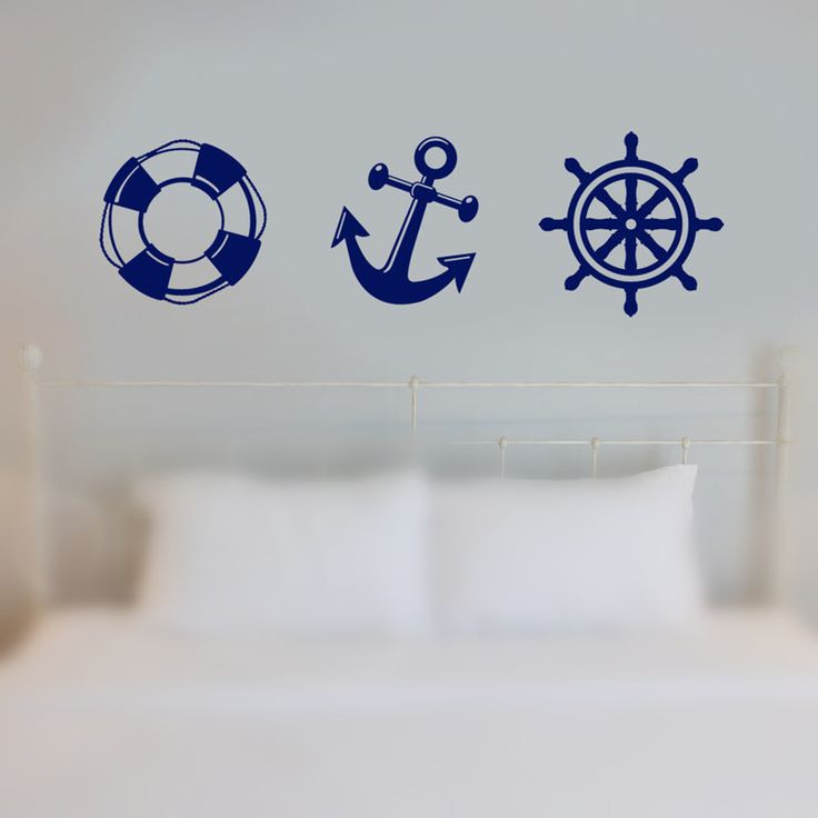 Nautical Ship Wheel, Anchor, Life Preserver Decal Living Room Vinyl Carving Wall Decal Sticker for Kids Room Home Window Decor