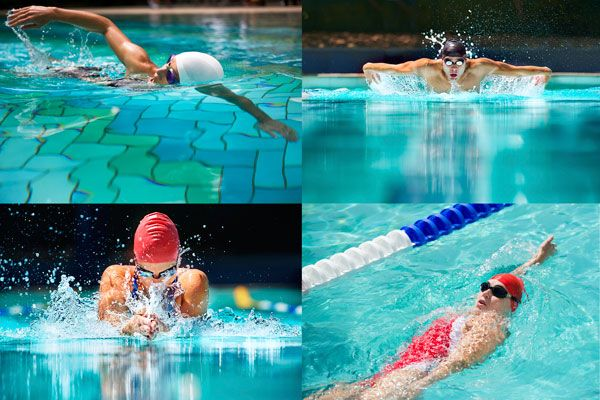 collage showing the four competitive swim strokes