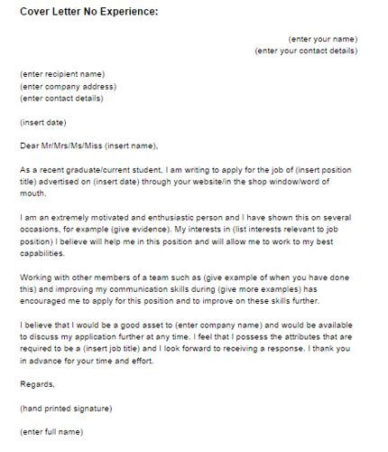 sample job application letter with work experience cover for